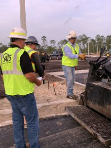 ATS on jobsite with asphalt paver