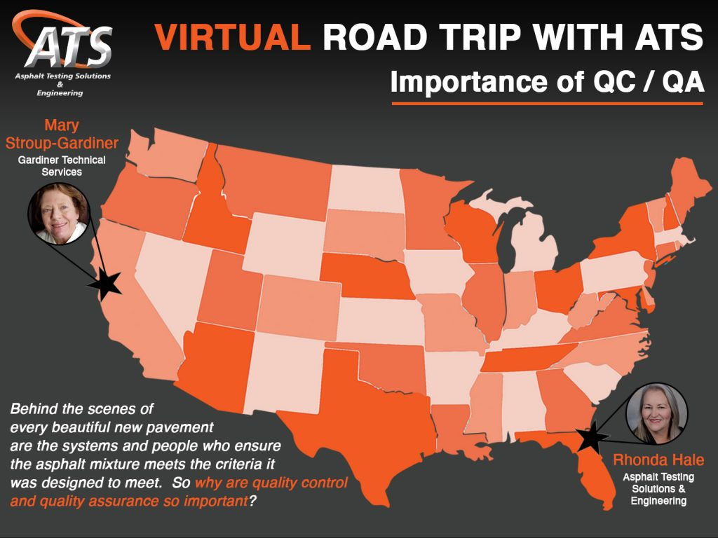 Map of the USA for Importance of Asphalt Quality Control and Quality Assurance Webinar Title