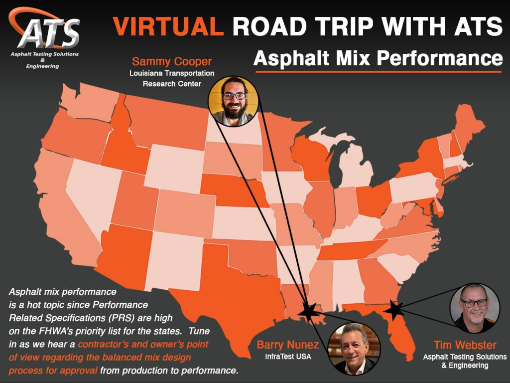 Map of the USA for Asphalt Mix Performance Webinar Title