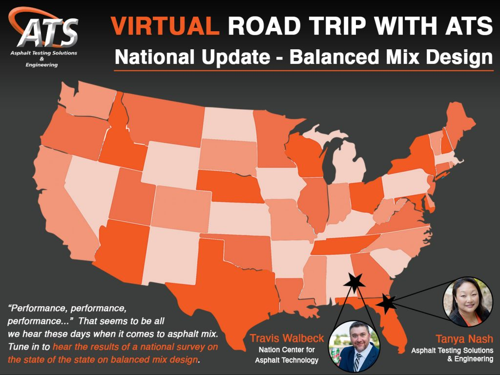 Map of United States for National Update on Balanced Mix Design webinar