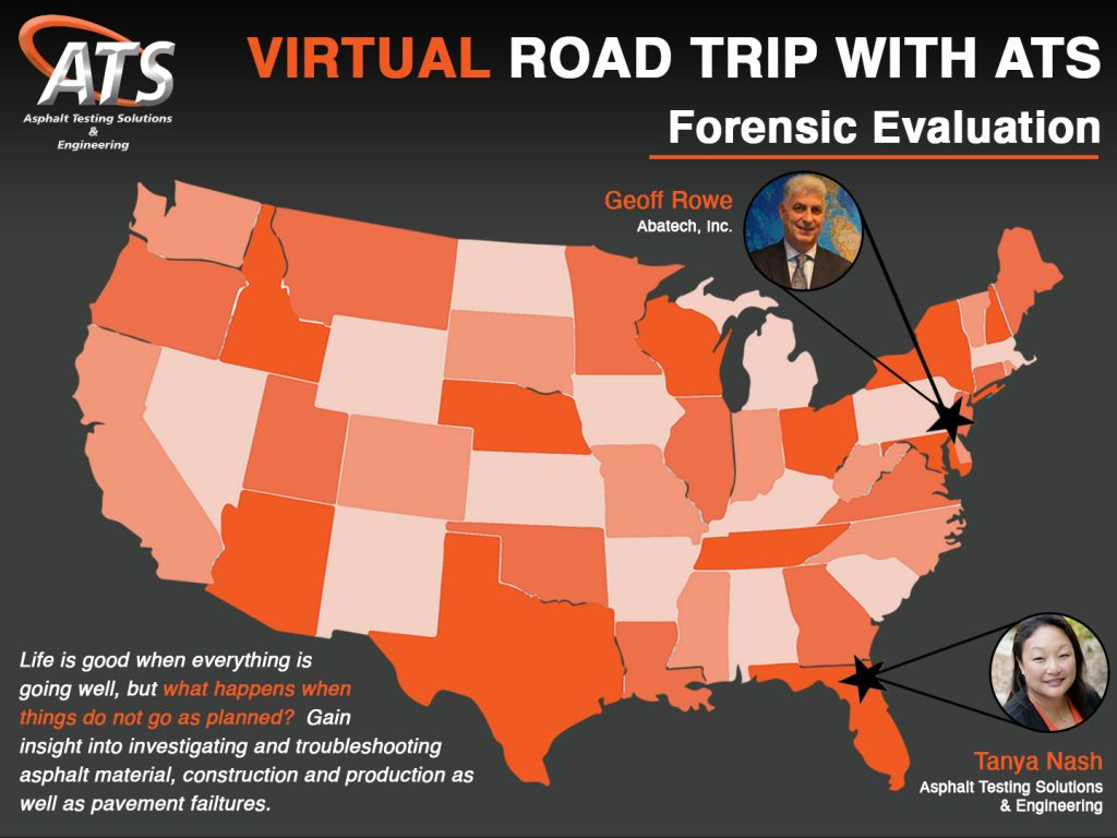 Map of United States with Geoff Rowe and Tanya Nash for Asphalt Forensics webinar