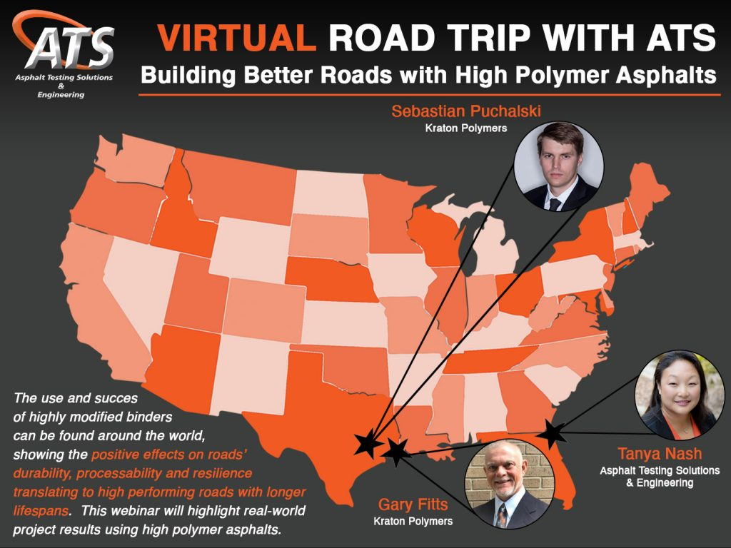Map of United States for Building Better Roads with High Polymer Asphalts webinar